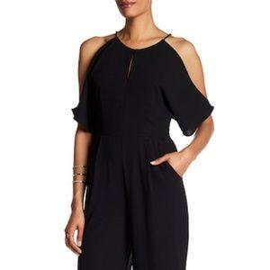 Adelyn Rae Cold Shoulder Black Jumpsuit Large NWT